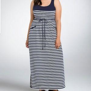 Navy Striped Torrid Maxi Dress Size 1 1x